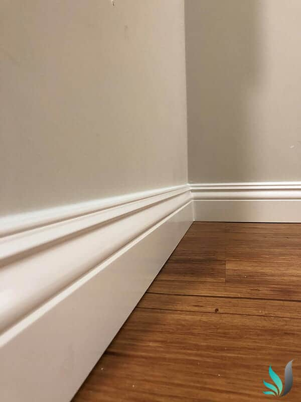 Custom Creations Perth WA bedroom skirting boards over hardwood floor