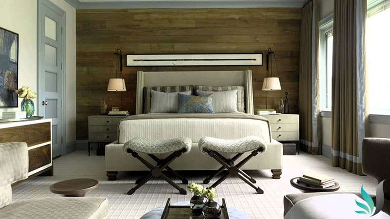 Custom Creations Perth WA master bedroom timber feature wall